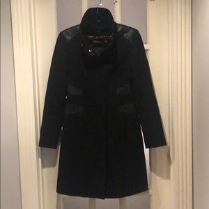 Black Via Spiga peacoat with leather detail!